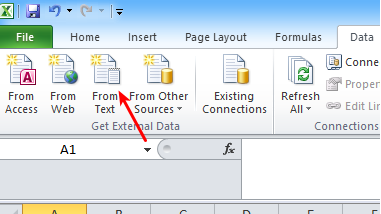 Excel import from csv text screenshot